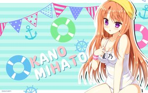 Rating: Safe Score: 141 Tags: blush breasts cleavage floral_flowlove hat hontani_kanae long_hair mihato_kano orange_hair purple_eyes saga_planets school_swimsuit swimsuit wristwear User: RyuZU
