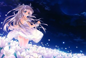 Rating: Safe Score: 289 Tags: blue_eyes blush carnelian clouds dress flowers gray_hair long_hair moon night original petals ribbons scan sky stars User: Wiresetc