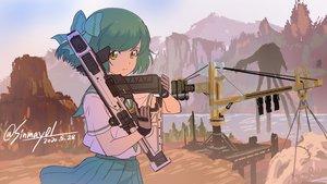 Rating: Safe Score: 27 Tags: apex_legends bow gloves green_eyes green_hair gun industrial scenic school_uniform shinmai_(kyata) short_hair signed skirt sky weapon User: otaku_emmy