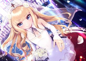Rating: Safe Score: 7 Tags: 5saiji azur_lane elbow_gloves flowers gloves queen_elizabeth_(azur_lane) wedding wedding_attire User: FormX