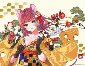 Rating: Safe Score: 41 Tags: animal_ears blue_eyes blush flowers gloves hanekoto japanese_clothes kimono original red_hair short_hair watermark User: BattlequeenYume