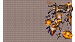 Rating: Safe Score: 60 Tags: blonde_hair elbow_gloves fang gia halloween hat long_hair original photoshop purple_eyes scarf scythe thighhighs weapon witch_hat User: SciFi