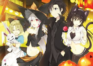 Rating: Safe Score: 192 Tags: animal_ears breasts brown_eyes catgirl cleavage cosplay dress festival food green_eyes group halloween hat headband male navel red_eyes tagme_(character) tail tousougeki_reactor witch witch_hat won_(artist) User: Wiresetc