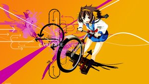 Rating: Safe Score: 12 Tags: bicycle bow brown_hair camera headband kneehighs red_eyes ribbons school_uniform short_hair skirt suzumiya_haruhi suzumiya_haruhi_no_yuutsu watermark User: RyuZU
