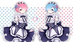 Rating: Safe Score: 69 Tags: 2girls apron aqua_eyes aqua_hair blush collar headdress maid pink_eyes pink_hair ram_(re:zero) rem_(re:zero) re:zero_kara_hajimeru_isekai_seikatsu ribbons short_hair skirt_lift tsubaki_tsubaru twins uniform User: FormX