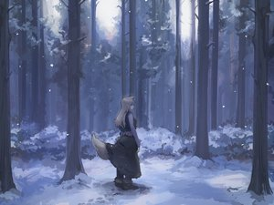 Rating: Safe Score: 32 Tags: forest horo ookami_to_koushinryou osu5i scenic snow tree wolfgirl User: mattiasc02
