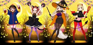 Rating: Safe Score: 41 Tags: animal_ears bell blonde_hair blue_eyes boots brown_hair cape catgirl chinese_clothes collar demon dress gloves halloween hat headband horns kaname_mahiro marinasu_(kari) ofuda otonoha_naho pantyhose short_hair shorts skirt suzuna_subaru tail thighhighs touma_rin weapon white wings witch witch_hat wristwear yellow_eyes yuu_(higashi_no_penguin) zettai_ryouiki User: Dreista