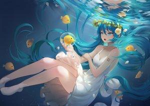 Rating: Safe Score: 56 Tags: animal aqua_eyes aqua_hair bubbles dress fish flowers hatsune_miku lian_yao long_hair petals signed summer_dress tears twintails underwater vocaloid water User: RyuZU