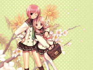 Rating: Safe Score: 32 Tags: akino_momiji black_eyes flowers kiriyama_sakura kneehighs pink_eyes pink_hair sakura_musubi school_uniform User: Oyashiro-sama