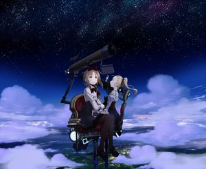 Rating: Safe Score: 14 Tags: 2girls animal book bow cat clouds dress mochizuki_saku night original sky stars User: FormX