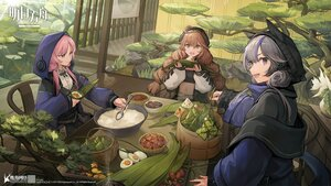 Rating: Safe Score: 40 Tags: animal arknights blue_eyes blue_poison_(arknights) braids brown_eyes brown_hair coney cuora_(arknights) fish food glaucus_(arknights) gray_hair hat hoodie logo long_hair pink_hair tail tree twintails water User: SnekNOTSnake