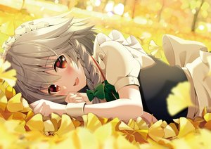 Rating: Safe Score: 81 Tags: apron autumn blush braids close gray_hair headdress izayoi_sakuya leaves maid red_eyes short_hair touhou wristwear yellow yuuka_nonoko User: otaku_emmy