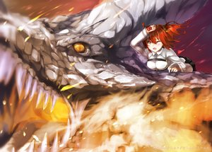 Rating: Safe Score: 33 Tags: dragon fate/apocrypha fate/grand_order fate_(series) fire fujimaru_ritsuka_(female) orange_eyes red_hair short_hair tagme_(artist) wink User: BattlequeenYume