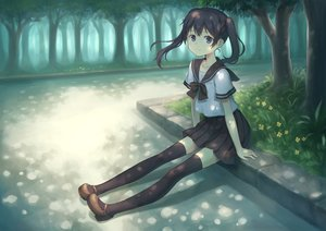Rating: Safe Score: 32 Tags: black_hair blue_eyes flowers forest original park school_uniform shade tagme_(artist) thighhighs tree twintails User: luckyluna