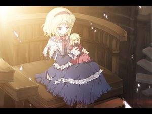 Rating: Safe Score: 32 Tags: alice_margatroid blonde_hair boots doll dress long_hair red_eyes ribbons shanghai_doll short_hair tokiame touhou User: Oyashiro-sama