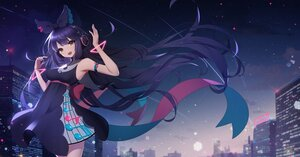 Rating: Safe Score: 56 Tags: animal_ears ankkoyom brown_eyes building city dress headphones long_hair original purple_hair User: BattlequeenYume