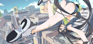 Rating: Safe Score: 224 Tags: ass bandaid bikini_top black_hair building city clouds gloves long_hair monq original shorts sky twintails yellow_eyes User: FormX