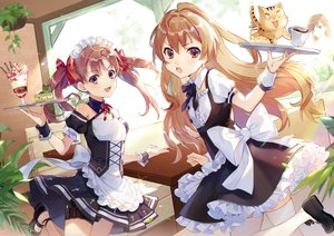 Rating: Safe Score: 85 Tags: aisaka_taiga animal apron bow brown_eyes brown_hair cake crossover dress drink ekita_gen flat_chest food garter headdress ice_cream jpeg_artifacts long_hair maid misaka_mikoto ribbons shirai_kuroko short_hair thighhighs tiger to_aru_kagaku_no_railgun to_aru_majutsu_no_index toradora twintails waitress User: RyuZU