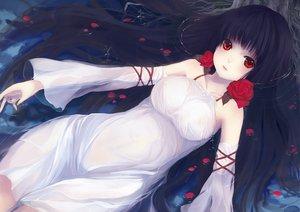 Rating: Safe Score: 140 Tags: black_hair blush dress flowers itou_nanami long_hair original petals red_eyes rose see_through water wet User: gnarf1975