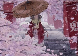 Rating: Safe Score: 53 Tags: black_hair cherry_blossoms flowers gag japanese_clothes kamado_nezuko kimetsu_no_yaiba kimono kona_(konahana) long_hair petals pink_eyes stairs umbrella User: RyuZU