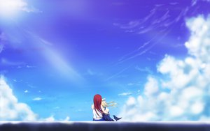 Rating: Safe Score: 119 Tags: air animal bird blonde_hair clouds kamio_haruko kamio_misuzu red_hair scenic sky yottin User: Zolxys