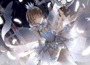 Rating: Safe Score: 59 Tags: brown_hair card_captor_sakura crown dress feathers gloves kinomoto_sakura lium short_hair skirt_lift wand wings User: RyuZU
