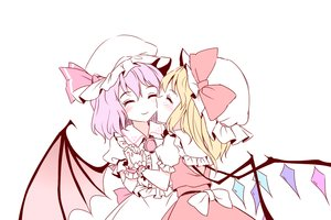 Rating: Safe Score: 9 Tags: 2girls blonde_hair blush bow dress flandre_scarlet hat minust pink_hair polychromatic remilia_scarlet short_hair shoujo_ai touhou vampire white wings User: RyuZU