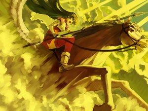 Rating: Safe Score: 39 Tags: animal armor bob_(biyonbiyon) caeda_(fire_emblem) clouds fire_emblem horse long_hair pegasus spear weapon User: 秀悟