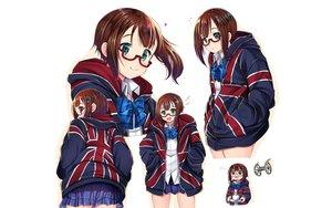Rating: Safe Score: 16 Tags: bow brown_hair glasses green_eyes heart hoodie kiniro_mosaic kousaka_yukiho love_live!_school_idol_project mad_(hazukiken) short_hair skirt white User: RyuZU