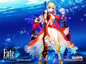 Rating: Safe Score: 73 Tags: archer black_hair blonde_hair blue_eyes dark_skin dress fate/extra fate_(series) fate/stay_night green_eyes group long_hair male nero_claudius_(fate) ribbons short_hair skirt sword thighhighs tohsaka_rin twintails type-moon underwater wada_rco water watermark weapon white_hair User: Tensa