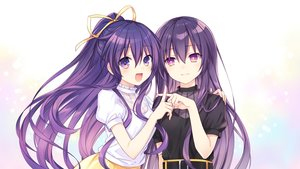 Rating: Safe Score: 55 Tags: 2girls date_a_live long_hair ponytail purple_eyes purple_hair ribbons tsunako yatogami_tohka User: mattiasc02