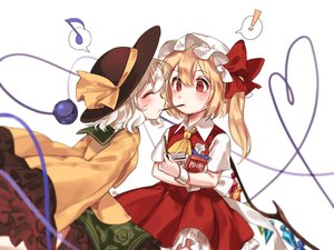 Rating: Safe Score: 30 Tags: 2girls blonde_hair blush bow dress flandre_scarlet food hat komeiji_koishi long_hair pocky red_eyes ribbons short_hair shoujo_ai tagme_(artist) touhou twintails wings User: BattlequeenYume