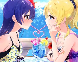 Rating: Safe Score: 33 Tags: 2girls ayase_eri blonde_hair blue_eyes blue_hair breasts cleavage close cropped drink long_hair love_live!_school_idol_project nanatsu_no_umi ponytail shoujo_ai sonoda_umi yellow_eyes User: mattiasc02