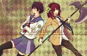 Rating: Safe Score: 11 Tags: angel_beats! nakamura_yuri noda red_hair seifuku short_hair skirt thighhighs tie weapon User: Tensa
