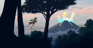 Rating: Safe Score: 31 Tags: animal_ears anthropomorphism clouds forest gray_hair hilgendorf's_tube-nose_bat_(kemono_friends) kemono_friends moon ogata_tank scenic seifuku short_hair signed skirt sky tree wings User: otaku_emmy