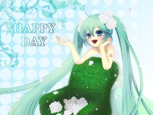 Rating: Safe Score: 13 Tags: dress flowers hatsune_miku petals twintails vocaloid User: HawthorneKitty