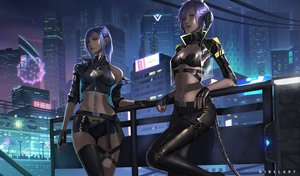 Rating: Safe Score: 59 Tags: 2girls au_ra breasts building city final_fantasy final_fantasy_xiv gloves horns navel nibelart night ponytail purple_hair realistic see_through short_hair tail thighhighs yellow_eyes User: SciFi