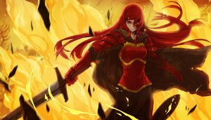 Rating: Safe Score: 197 Tags: armor dress fire long_hair original pixiv_fantasia red_eyes red_hair shanpao sword weapon User: FormX