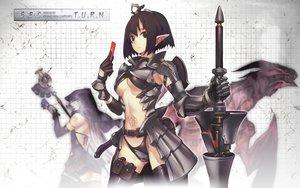 Rating: Safe Score: 226 Tags: armor black_hair brown_eyes nagi_ryou pointed_ears short_hair underboob weapon User: rk