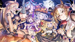 Rating: Safe Score: 32 Tags: aliasing anthropomorphism ass bicolored_eyes blackblades blonde_hair blue_eyes blue_hair braids candy dress drink fang garter_belt gloves group halloween hat horns long_hair moon night pumpkin short_hair skirt sky tagme_(character) tail thighhighs white_hair wings witch_hat yellow_eyes zhanjian_shaonu User: BattlequeenYume