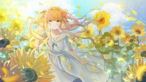 Rating: Safe Score: 60 Tags: dress flowers green_eyes long_hair orange_hair original ppyono sunflower twintails User: Dreista