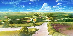 Rating: Safe Score: 223 Tags: clouds cola_(gotouryouta) flowers landscape original scenic sky sunflower tree User: opai