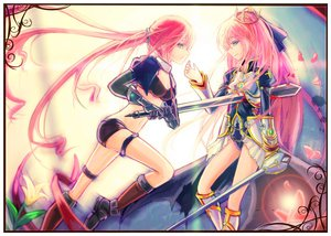Rating: Safe Score: 144 Tags: 2girls armor blood breasts chain cleavage collar crown elbow_gloves flowers gloves green_eyes hc long_hair navel petals pink_hair ponytail shorts sword vocaloid vocaloid_china weapon User: opai