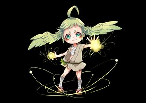 Rating: Safe Score: 29 Tags: bandage black green_eyes green_hair loli magic mamejirushi original sarashi tattoo underwear wings User: otaku_emmy