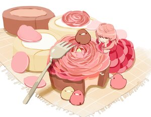 Rating: Safe Score: 14 Tags: animal bird cake chai_(artist) dress food original pink_hair polychromatic signed User: otaku_emmy