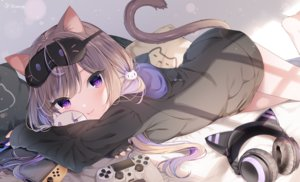 Rating: Safe Score: 94 Tags: animal_ears brown_hair catgirl game_console headphones loli mafuyu_(chibi21) original purple_eyes signed tail twintails User: BattlequeenYume