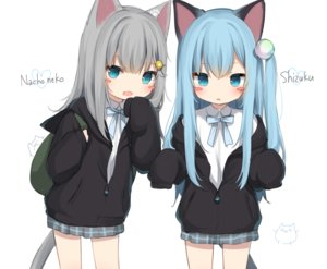 Rating: Safe Score: 91 Tags: 2girls amashiro_natsuki animal_ears aqua_eyes aqua_hair bow catgirl cropped fang gray_hair hoodie loli long_hair nacho_neko nekoha_shizuku original ponytail school_uniform sketch skirt tail white User: otaku_emmy