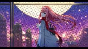 Rating: Safe Score: 96 Tags: aqua_eyes darling_in_the_franxx headband horns ji_dao_ji long_hair moon pink_hair rooftop scarf skirt zero_two User: RyuZU