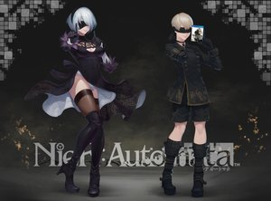 Rating: Safe Score: 35 Tags: blindfold blonde_hair boots breasts choker cleavage dress gloves headband logo male nier nier:_automata ptdoge short_hair shorts thighhighs upskirt white_hair yorha_unit_no._2_type_b yorha_unit_no._9_type_s User: gnarf1975