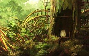 Rating: Safe Score: 40 Tags: animal bird forest original owl ruins scenic shade shi_yu tree User: RyuZU